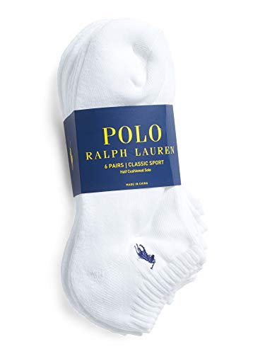 Polo Ralph Lauren Mens NO Show Socks (Size 6-12, White 6 Pairs) from Polo Ralph Lauren