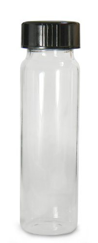 - Qorpak GLC-01001 Borosilicate Glass 5 Drams Screw Thread Sample Vial, with 24-400 Neck Finish, Clear, Black Phenolic PolyCone Lined Cap attached (Case of 72)