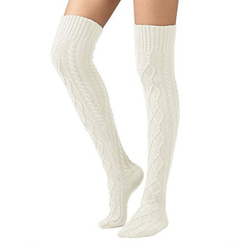 le Knit Boot Stockings Extra Long Thigh High Leg Warmers Winter Floor Socks White ()