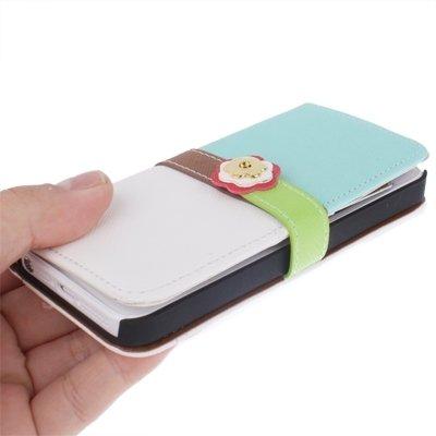 Mxnet Plum Flower Button Flip Leder Brieftasche Case Cover mit Kreditkarte Slot & Lanyard für iPhone 5 & 5s & SE rutschsicher Telefon-Kasten ( SKU : S-IP5G-3141C )
