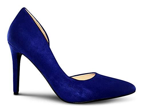 AFFORDABLE FOOTWEAR Womens Pointy Toe Low Platform High Heels Stiletto Dress Pumps - (Blue Suede) - 8.5 -