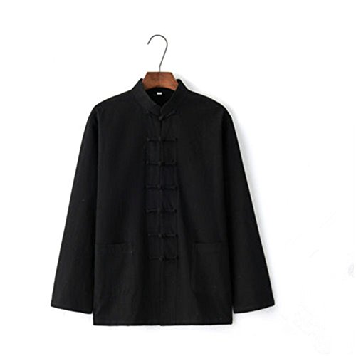 (YOUMU Men's Cotton Linen Coat Shirt Jackets Chinese Kung Fu Traditional Casual Tops)