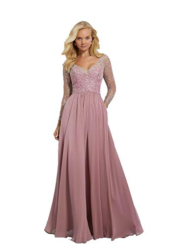 539bb0ec99 ... Dresses Long Sleeve Chiffon Bridesmaid Dresses with Embroidered Beaded  Lace Bodice Women Formal Dress Dusty Pink.   