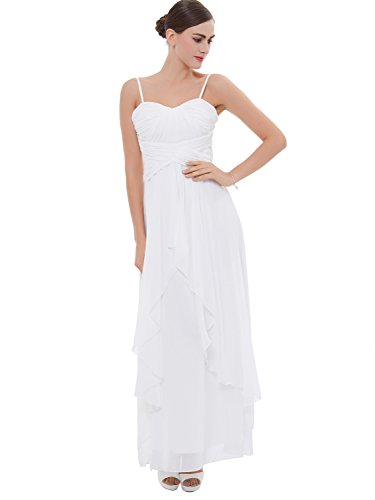 A-line Spaghetti Strap Evening Gown (Tanpell Women's A-Line Spaghetti Straps Pleats Long Evening Dress 2 White)