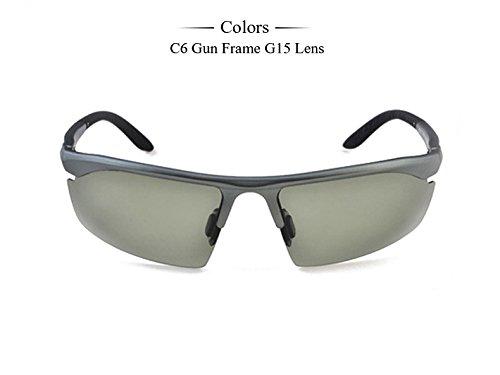 Tr90 G15 Negro la alta G15 polarizadas mate Gafas calidad hombres gafas de pero086 gafas Modo C6 TIANLIANG04 de de sol Frame caja C5 gafas Gun con H4wqvRp