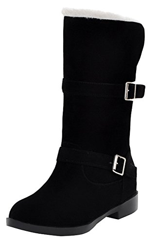 Pull Women's On Faux High Heel Low Suede Ankle Buckle Black Boots SHOWHOW Simple R0wdx4xZ