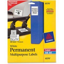 - Permanent ID Laser Labels, 1-1/4 x 1-3/4, White, 480/Pack