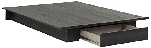 "South Shore 54""/60'' Holland Platform Bed with drawer, Full/Queen, Gray Oak"