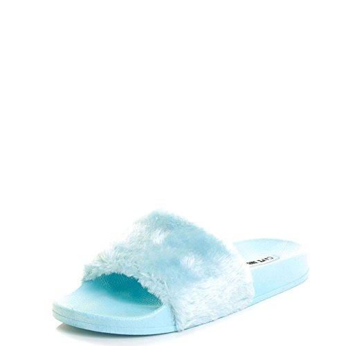Cape Robbin Open Toe Fashion Eco-pelliccia Scarponcino Sandali Piatti Baby Blue