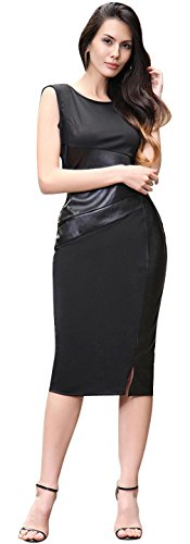 jeansian Damen Elegant Gowns Faux Leather Stitching Sleeveless Bodycon Slim Fit Pencil Lady Dresses WKD227 (USA M, Black)