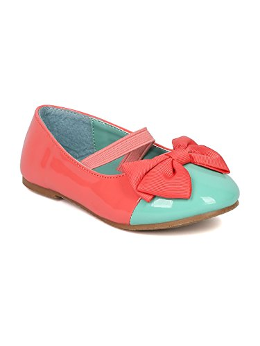 JELLYBEANS Patent Capped Toe Ballet Flat Ribbon Bow Mary Jane (Toddler) AA60 - Coral (Size: Toddler 6) (Ribbon Patent)