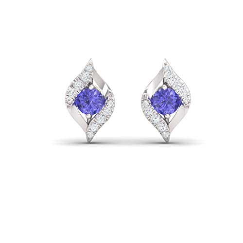 Diamondere Natural and Certified Tanzanite and Diamond Bypass Petite Earrings in 14K White Gold | 0.39 Carat Stud Earrings for Women