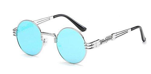 lunettes du soleil en Lennon style inspirées cercle Bleu retro de polarisées Glacier métallique vintage rond rpg4r
