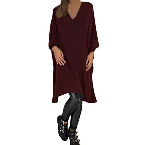 Sunhusing Fashion Women Casual Solid Color V-Neck Long Sleeve Loose Dress Knee Length Dresses -