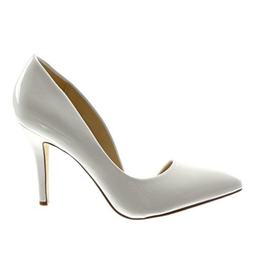 Haut Blanc 5 cm Decolleté Femme Chaussure Angkorly on Slip Stiletto Verni Mode 9 Aiguille Talon Escarpin Z6vZxqwOA
