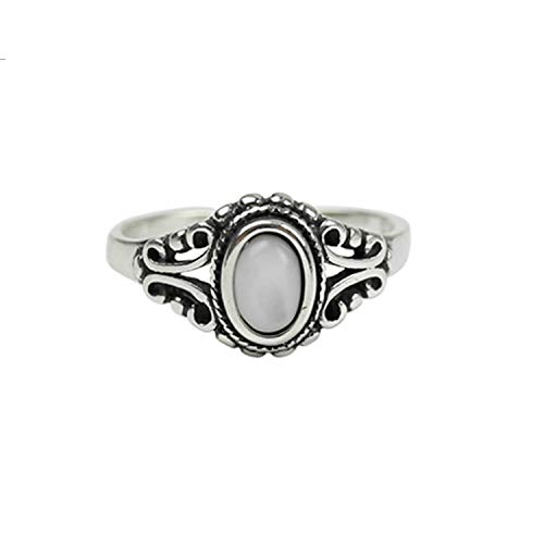 (SILBERTALE 925 Sterling Silver Retro Natural Shell Pearl Open Cuff Adjustable Finger Rings for Women Girls)
