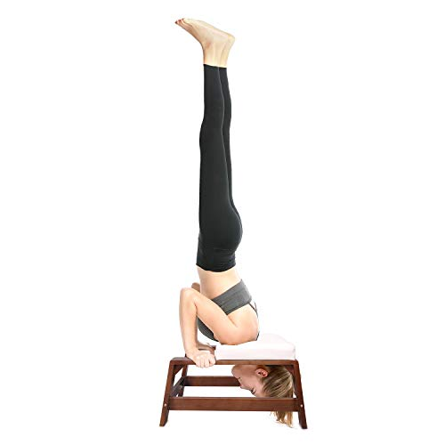 (Restrial Life Yoga Headstand Bench - Yoga Inversion Trainer for Family, Gym - 100% Beech and PU Pads - Relieve Fatigue and Build Up Body (White))