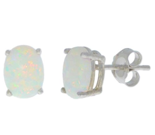 14Kt White Gold Genuine Opal Oval Stud Earrings 14kt Genuine Birthstone Mothers Ring