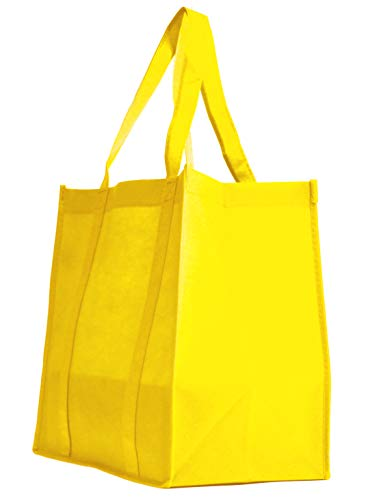 (5 Pack Heavy Duty Grocery Tote Bag, Yellow Color Large & Super Strong, Reusable Shopping Bags with Stand-up PL Bottom, Non-Woven Convention Tote Bags, Premium Quality (Set of 5, Yellow))