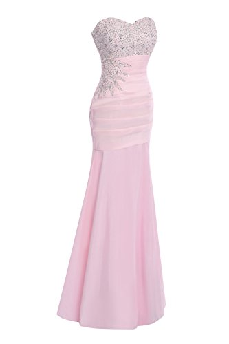 Bridal Dress Evening Blushing Prom Beaded Women's Bess Pink Sweetheart Mermaid d0YUqw