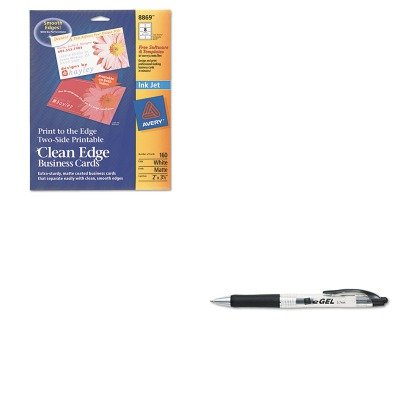 Avery Business Pen - KITAVE49988AVE8869 - Value Kit - Avery Print-to-the-Edge 2-Sided Clean Edge Business Card (AVE8869) and Avery eGEL Roller Ball Retractable Gel Pen (AVE49988)