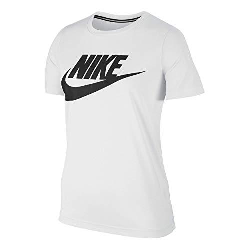 Nike W NSW ESSNTL TEE HBR Tee for Woman, White (White / White / Black), M