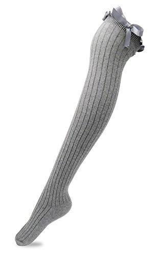 Women's Girls Thigh High Stockings Over the Knee Socks with Satin Bows(Light Grey,One Size)