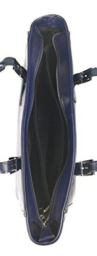 Zerimar Sacchetto di spalla in pelle per le donne Borsa a tracolla grande in pelle mórbida Blu marino