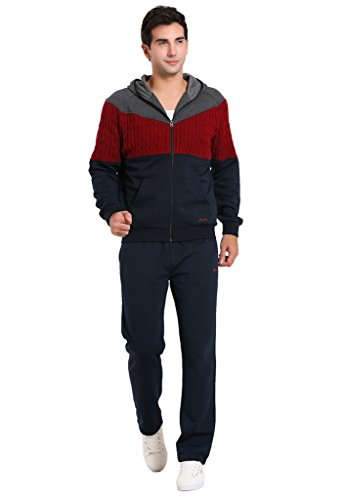 Miuk Men's Tracksuit Hooded Long Sleeves Knitting Patchwork Sportssuit