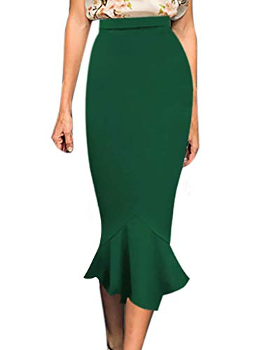 VFSHOW Womens Vintage High Waist Work Business Mermaid Midi Pencil Skirt 1391 GRN XXL
