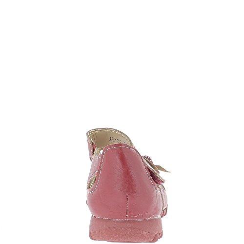 Chaussures femme rouges confort décor fleur et strass