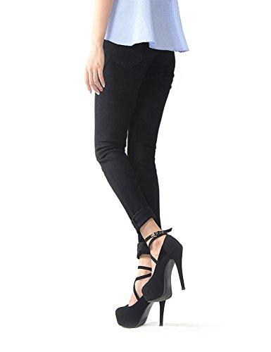 Noir Poches Déchiré Women En Femmes Crayon Taille Pour Maigre Décontracté Pantalon Avec Stretch Anaisy Bouton Denim Haute Jeune sdBQxthrC