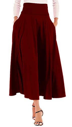 (Calvin&Sally Women High Waist Front Slit Belted Casual A-Line Pleated Midi Skirt Dresses (Red M))