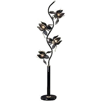 Ore International K-9334KA 73-Inch Flower Floor Lamp, Black ...