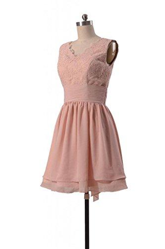 Del Lunghezza Pizzo Del Partito Antico rosa 18 Vestito V Del Da Ginocchio Daisyformals Merletto Damigella bm29035 D'onore Di Del collo qpfdtt