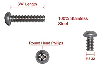 1//4-20 X 1//2 Stainless Phillips Round Head Machine Screw, 18-8 Coarse Thread Stainless Steel 304 50pc by Bolt Dropper
