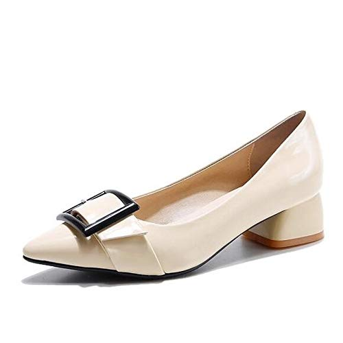 ZHZNVX Heels Leather Women's Black Almond Heel Chunky Patent Black Pump Shoes Spring Basic Wine ZZFqawRx
