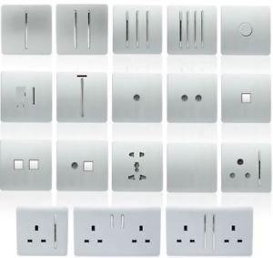 Trendi /Étendoir Artistique Moderne Brillant Tactile Prise t/él/éphonique RJ45/Cat 5e et Cat 6/PC Socket Argent