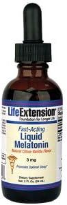 Life Extension Fast-Acting Liquid Melatonin, Natural Citrus-Vanilla Flavor 3mg, 2 fl oz