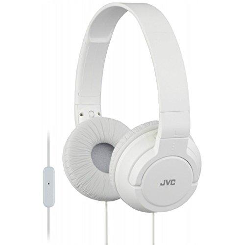 Jvc Headset - JVC HA-SR185 Lightweight Foldable Headphones with Remote (White)