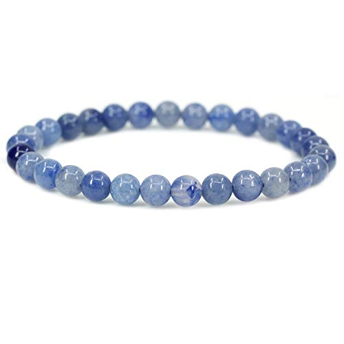 Natural Blue Aventurine Gemstone 6mm Round Beads Stretch Bracelet 7