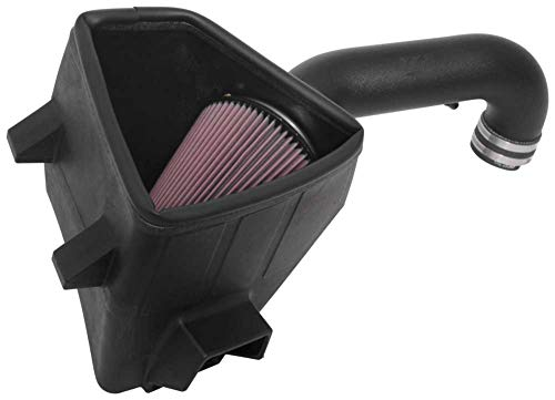 63-2593 K/&N Cold Air Intake Kit with Washable Air Filter: 2015-2019 Ford F150 Black HDPE Tube with Red Oiled Filter 2.7L V6