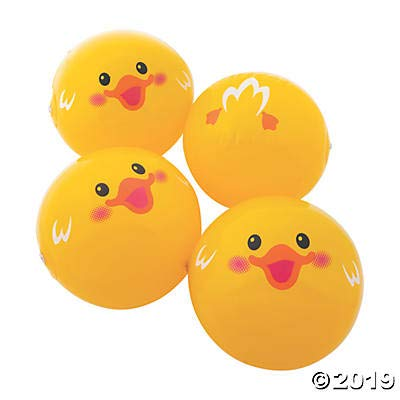 Fun Express Duck Beach Balls (12 Pieces) Yellow - 11 Inch: Toys & Games
