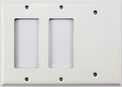 Combo 2 Gang Wall Plates - Smooth White 3 Gang Combo Wall Plate - 2 GFCI/Rocker Openings 1 Blank