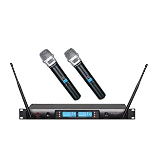 GTD Audio 2x100 Adjustable Frequency Channels UHF Wireless Handheld Microphone Karaoke Mic System Ideal for Church, Karaoke, Dj Party, Range 450 ft, 622H