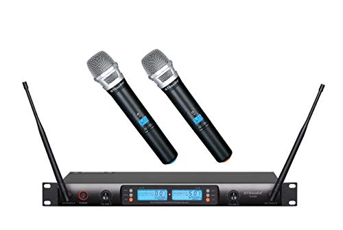 GTD Audio 2x100 Selectable Channel UHF Wireless Hand-held Microphone Karaoke Mic System 622 (Hand held mics)