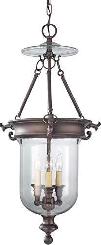 Feiss F2802 3ORB Luminary Glass Candle Chandelier Lighting, 3-Light, 180watts, Bronze 5 W by 29 H