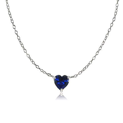 Sterling Silver Small Dainty Created Blue Sapphire Choker Necklace by Ice Gems
