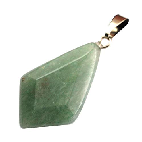 Steampunkers USA Core Elements - 25mm Faceted Kite Point Green Aventurine - Pendant Only - Tribal Ethnic Carved Necklace - Stainless Steel Bail ()