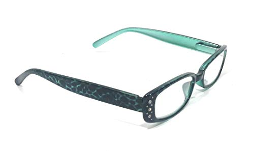 (Leopard Cheetah Womens Ladies Rhinestone Reading Glasses Cheaters (Turquoise blue, 1.50))